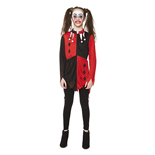 Girl's Zombie Jester Costume for Halloween Costume Party Accessory, Large Red and Black