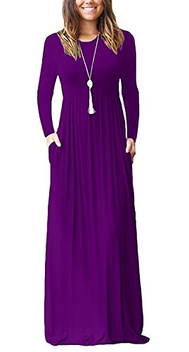 GRECERELLE Women's Long Sleeve Loose Plain Maxi Dresses Casual Long Dresses with Pockets Purple-XL