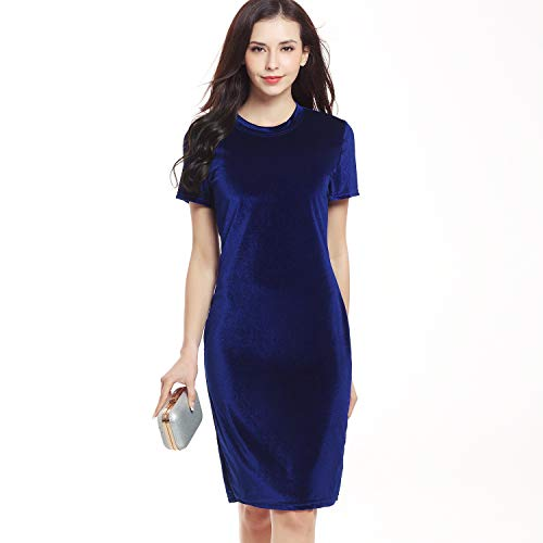 (MiaoYi Women Short Sleeve Gold Velvet Pencil Skirt Dress Dating Cocktail Evening Party Dresses (Royal Blue, X-Large))