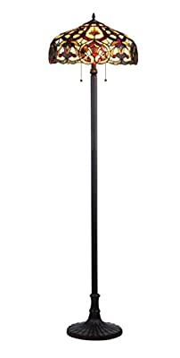 Chloe Lighting CH33473IV18-FL2 Sadie Tiffany-Style Victorian 2-Light Floor Lamp with 18-Inch Shade