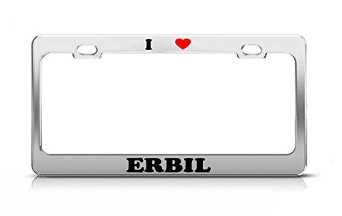 I HEART ERBIL Iraq Metal Auto License Plate Frame Tag Holder