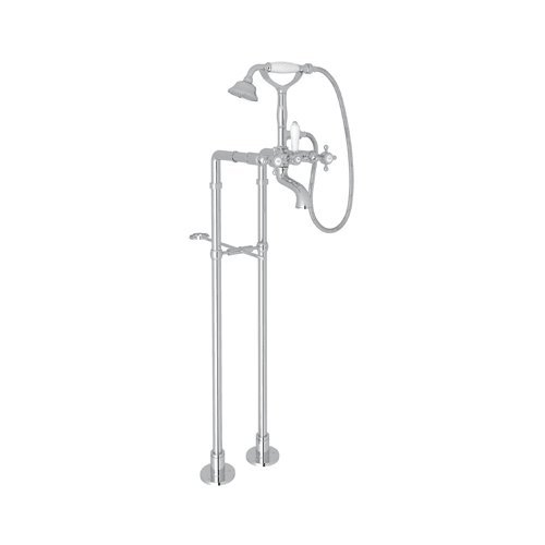 Rohl AKIT1401 Country Bath Floor Mounted Exposed Tub Set with Porcelain Lever Handles - Includes Personal Hand Shower