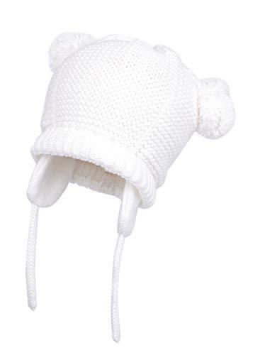 rls Warm Fall Winter Knitted Hat Cute Bear Earflap Beanie Warm Hat (Color 1-White, 2-3 Years) ()