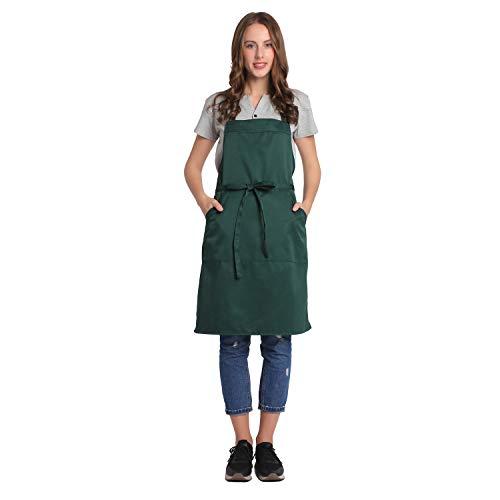 BIGHAS Adjustable Bib Apron with Pocket Extra Long Ties for Women, Men, Chef, Kitchen, Home, Restaurant, Cafe, Cooking, Baking, Gardening etc 13 Colors (Dark Green)