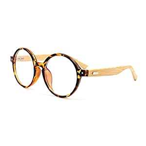 Amillet Bamboo Wood Vintage Round Eyeglass Frames 48-20-138