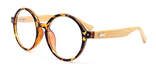 Amillet Bamboo Wood Vintage Round Eyeglass Frames - Frames Tortoise Round Eyeglass