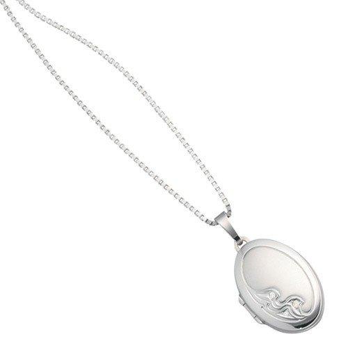 Médaillon à ouvrir-pendentif en or blanc 585 ornée de diamants brillants goldamulett 3