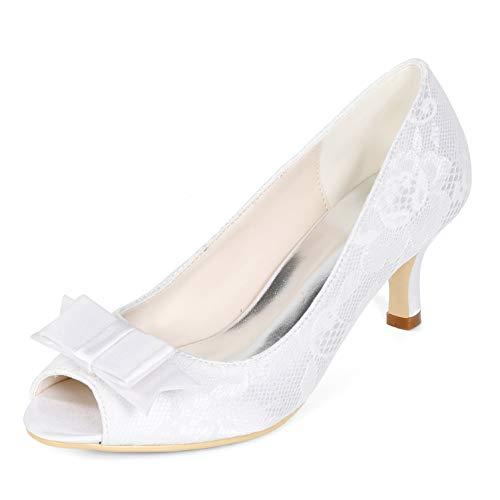Para Novia Mujeres 35 Altos 43 White Zapatos Satén Heel yc Toe Plataforma 9cm De Tacones Espumoso L Peep SBtq8nIwx