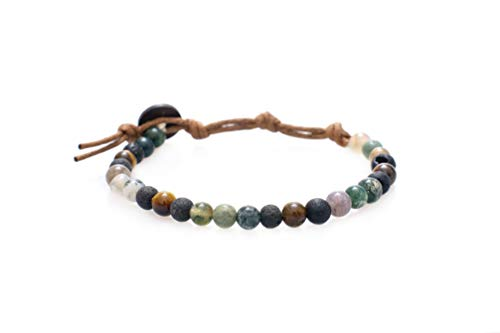 Coconut Bracelet Shell Stretch (Lotus and Luna Strength and Courage 6mm Lava Stone, Tiger Eye and Jade Healing Bracelet)