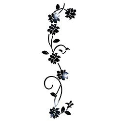 LiPing 3D DIY Flower Shape Acrylic Fashion Wall Sticker Modern Stickers Decoration 100X30CM (Black)