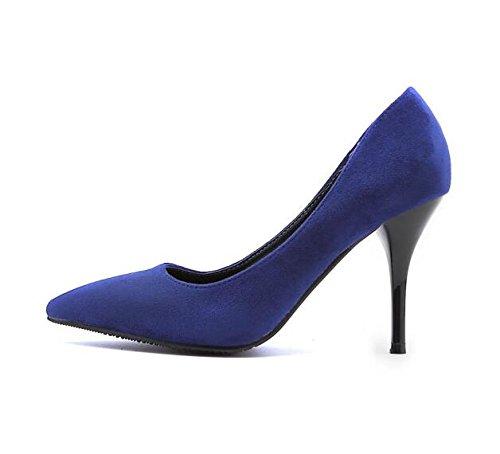 GAOLIM Sandalias De Tacón Alto De Estudiantes Mujeres En El Verano Para El Verano Con El Verbo, Y El Alto Talón Zapatos Zapatos Zapatos De Mujer Azul real 8.5cm