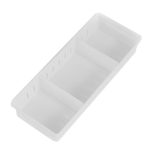 Storage Box Dispenser, Adjustable Drawer Plastic Organizer Kitchen Cutlery Divider Case Makeup Storage Box, Sort Out all Kinds of Home Supplies, Tableware, Stationery, Cosmetics and other(big,white)