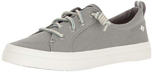 Sperry Womens Crest Vibe Linen Sneaker, Grey, 8