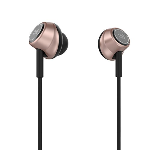 GVOEARS In ear headphones ,Stereo Ergo-fit Gv6 Music Earphone with Microphone (Inline Controls for IOS/ Android, Built-in Mic, Hands-free Calling, Extra Earbuds, 4 color options) (rose gold)