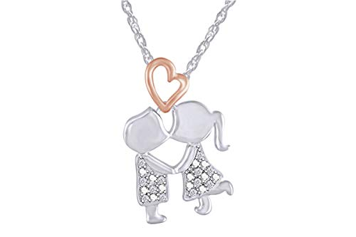 Aria Jewels 14k Two Tone Gold Over Sterling Silver Diamond Accent Boy Kiss Girl Heart Pendant w/ 18