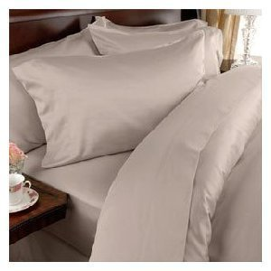 (Twin Extra Long Luxury Percale Solid Tan/Beige Sheet Set 300 Thread Count,100 % Cotton (Deep Pocket))