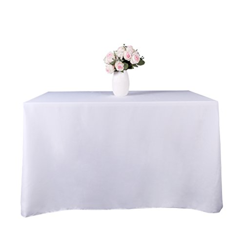 GFCC 90x90 inch White Polyester Tablecloth Square Table Clot