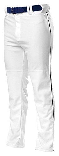 A4 Men's Side Seam Performance Warp-Knit Baseball Pant, Medium, White/ - Baggy Baseball Pants