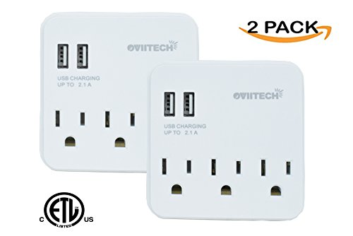 OviiTech Multi-Functional Surge Protector Wall Mount Outl...
