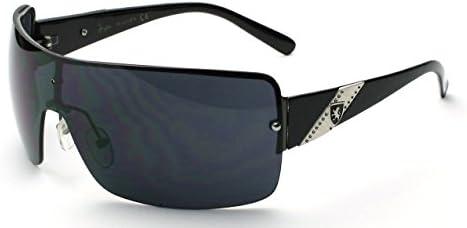 2088d0ba84c Amazon.com  Black Black Oversized Wraparound Shield Mens Designer  Sunglasses With Metal  Garden   Outdoor