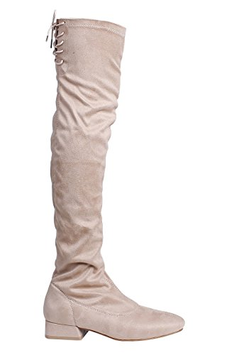 High Over Thigh AgeeMi Low With Ladies Boots Suede Knee Shoes Heels apricot Zipper FxqxwpItf