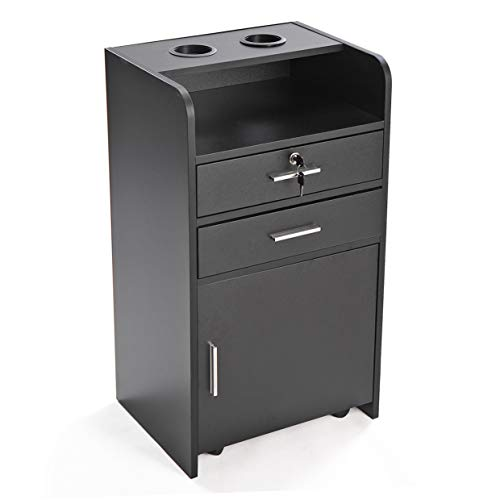 Black 3-layer Beauty Hair Salon Station Rolling Drawer Cabinet Trolley Cart w/Hair Dryer Holder