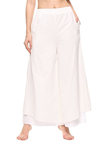 Zeagoo Women Casual Loose Fit Layers Culottes Wide Leg Pants