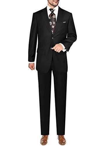 DTI GV Executive Italian Men's Wool Suit 2 Button Jacket 2 Piece Shadow Stripe (44 Short US / 54S EU/W 38