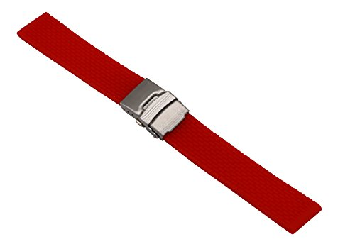 22mm Durable Watch Rubber Bands Smart Watch Belts Replacements Silicone in Red with Quick Release Pins (Watch Replacement Bands Armitron)