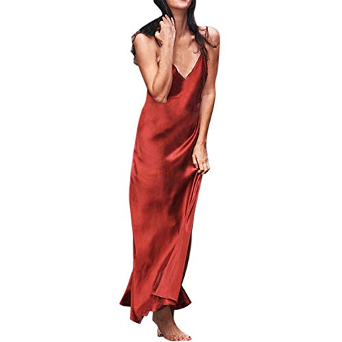 (TIFENNY Women's Milk Silk Soft Dresses Fashion Sexy Solid Sleeveless Backless Open Fork Long Strap Slip Formal Dress Red)