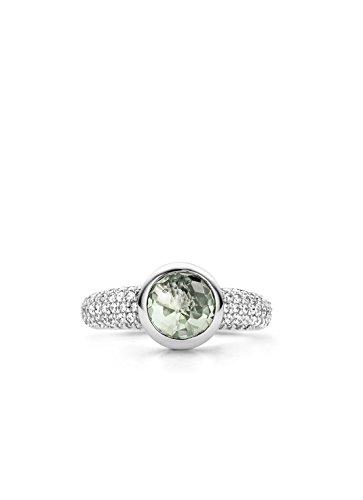 Ti Sento Milano femme  Argent 925/1000  Plaqué rhodium Argent|#Silver Rond   Vert Kristall Zirkonia FASHIONRING