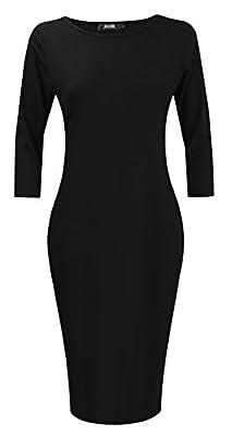 POZON Womens Classic Slim Fit Bodycon Midi Dress