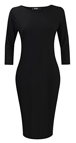 Buy black 3/4 length sleeve bodycon dress - 2