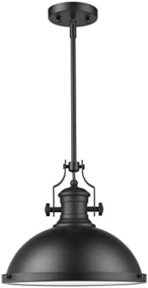 One Light Large Modern Industrial Metal Shade Pendant Light Fixture with Matte Black Finish Adjustable Length 7-70043