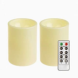 "GiveU Flameless Set of 2 (D 3"" x 4'') Battery Operated LED Pillar Plastic Flickering Candles with Remote Control Timer, for Christmas Home Indoor & Outdoor Decoration, Pack of 2, Ivory, 2 Count"
