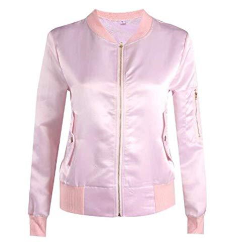 Puro Autunno Donna Lunghe Cerniera Colore Coat Maniche Fashion Pilot Tempo Pink Libero Giacca Giorno Con Primaverile Bomber Giovane rwrqXSEcv4