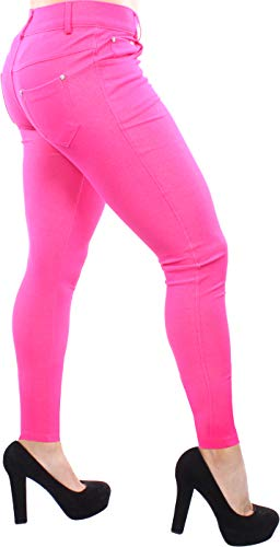 (Enimay Women's Colored Jean Look Jeggings Tights Spandex Leggings Yoga Pants Fuchsia Medium)