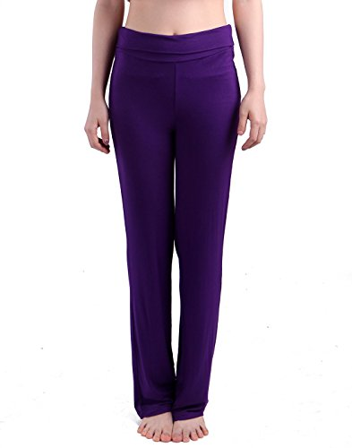 HDE Women's Color Block Fold Over Waist Yoga Pants Flare Leg Workout Leggings Purple