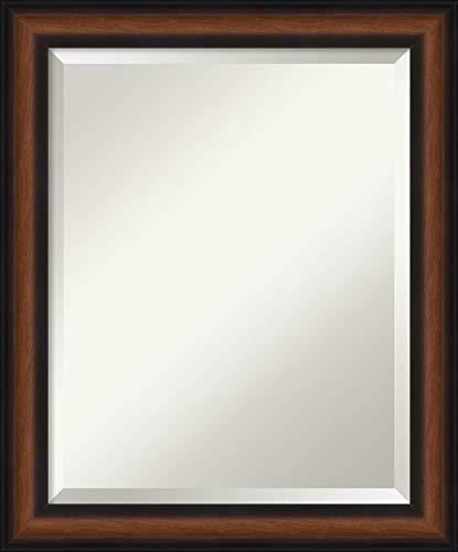 Framed Vanity Mirror | Bathroom Mirrors for Wall | Yale Walnut Mirror -