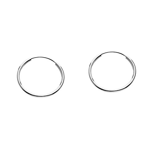 Large Hoops Gold White - 14k Gold Round Flexible Thin Continuous Endless Hoop Earrings, Unisex (14mm, white-gold)