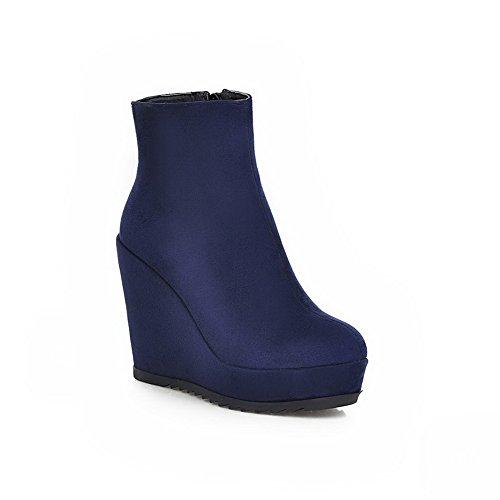 AdeeSu Ladies Color Matching Thick Bottom Heel Zipper Blend Materials Boots Blue