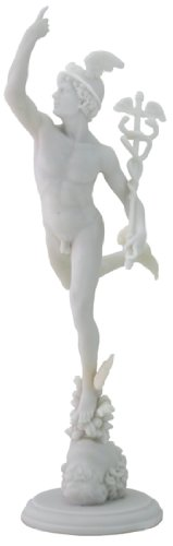 Flying Mercury Sculpture - Greek God Hermes - H: 14.5 Inch Marble Finish - Museum Antique Replica of Master Giovanni Da Bologna Statue ()