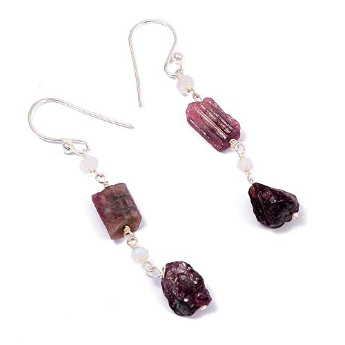 ❤️❤️100% Natural Tourmaline Rough with Moonstone Rainbow Beads ️Dangle Drop Earrings❤️❤️ | 925 Sterling Silver | Handcrafted Designer Charm Jewelry | Gift for Women, Ladies, Girls | Multicolor Color