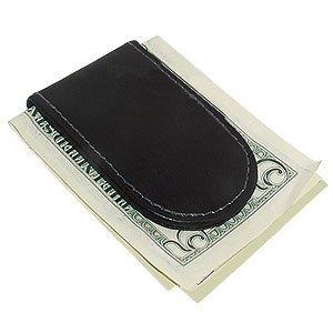 Black Leather Magnetic Money Clip (Black Money Clip)