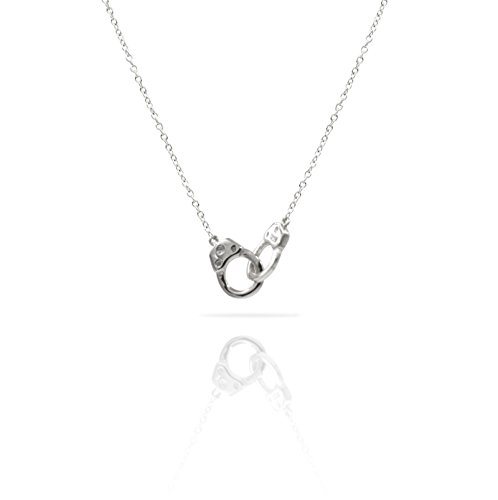 Sterling Silver Pendant Necklace with Locking Handcuffs Charm, Plain 925 Silver, Adjustable Chain Length 16