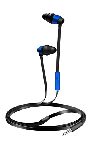 Coby CVE-116-BLU Tangle Free Flat Cable Stereo Ear...