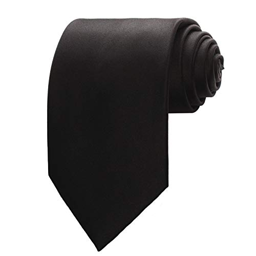 Black New Mens Solid Color Black Ties ()