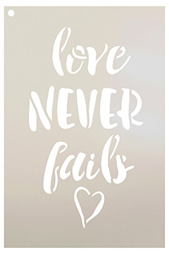 Love Never Fails Stencil - by StudioR12 | - Reusable Mylar Template | Painting, Chalk, Mixed Media | Wall Art, DIY Home Decor- STCL1518 - Select Size (6