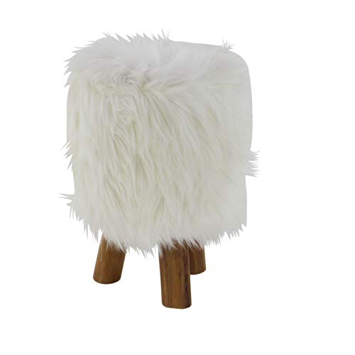 MattsGlobal Farmhouse Fur Stool-Backless and Armless-Natural Finish Teak Roundseat and Tripod Base-Residential and Supports 200lbs to - Lb Tripod 200