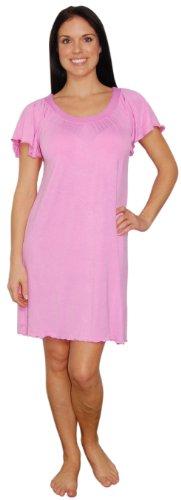 bSoft Bamboo Jersey Light Weight Flutter Gown,Small/Medium,Pink